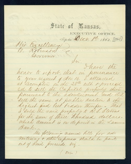 Governor Charles Robinson, sale of the Lecompton Capitol received correspondence - Page