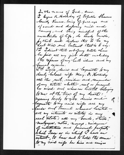 Last will and testament of Cyrus K. Holliday - Page