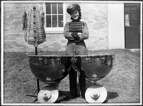 Audrey Herron with percussion instruments in Cimarron, Kansas - Page