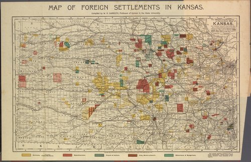 Image of map of foreign settlements in Kansas, 1894, compiled by W.