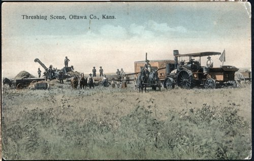 Threshing scene in Ottawa County, Kansas - Page