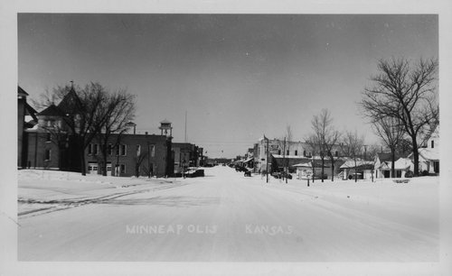 Snow covered street in Minneapolis, Kansas - Page