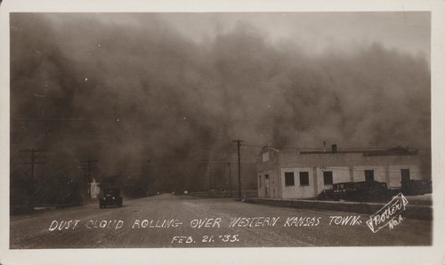 Dust storm over a western Kansas town - Page