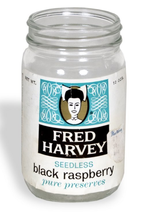 Harvey House black raspberry preserves jar - Page