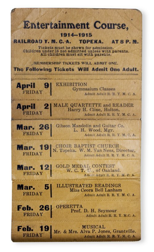 Railroad Y.M.C.A. entertainment tickets - Page