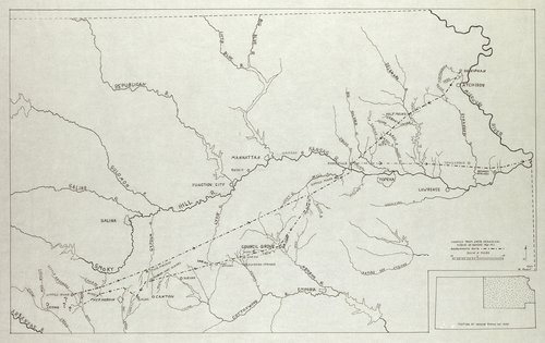 Milton Reichart created this map to accompany his article on Etienne de Bourgmont's route to central Kansas