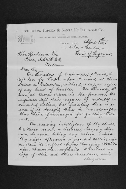 Letter detailing developments in a strikes of engineers - Page