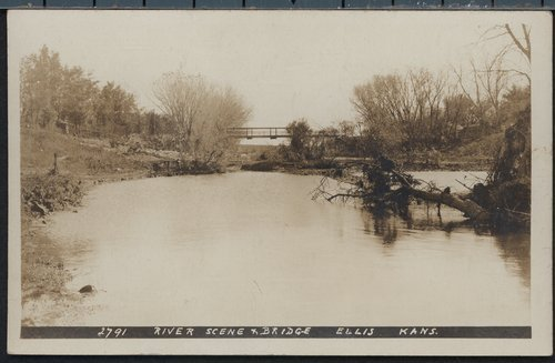 River scene and bridge in Ellis County, Kansas - Page