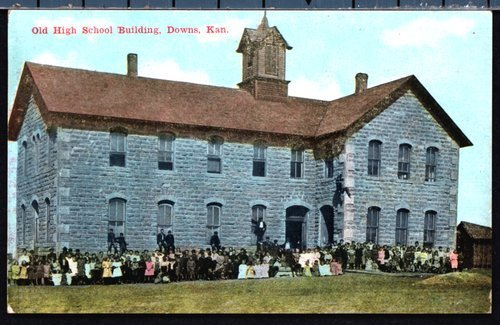 Postcard of old high school building, Downs