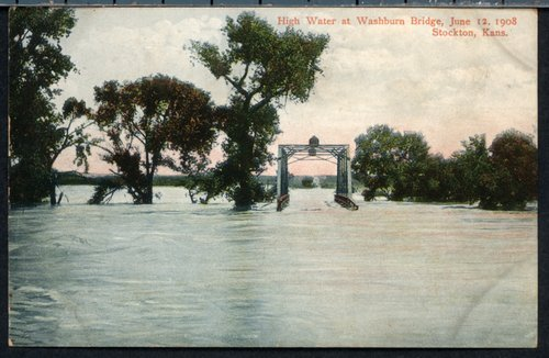High water at Washburn bridge in Stockton, Kansas - Page