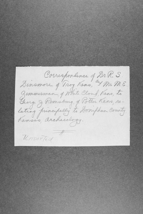 George Remsburg papers. Correspondence relating to the archeology of Doniphan County, Kansas - Page