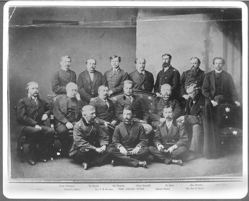 General Sherman, middle row, third from left, pictured with Grand Duke Alexis