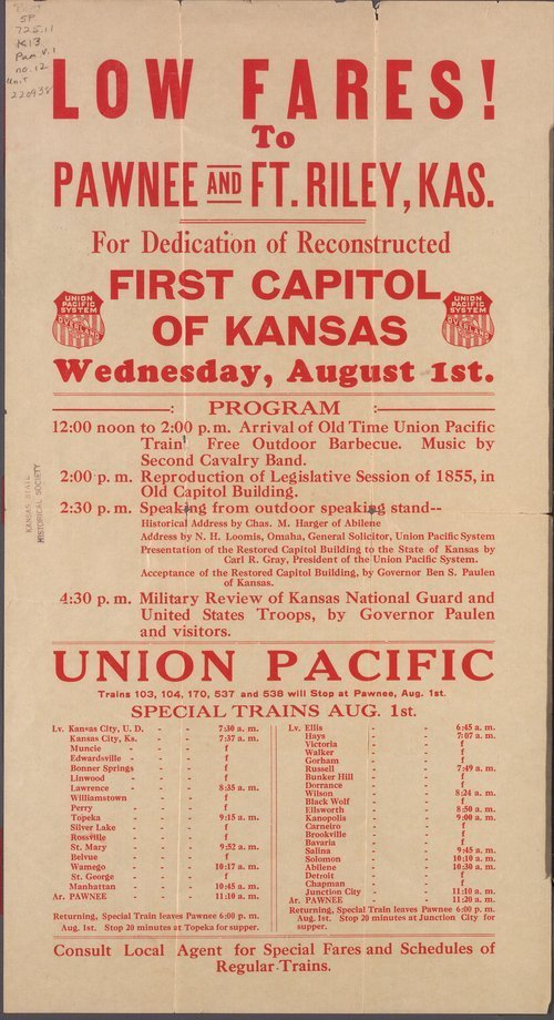Dedication of reconstructed first capitol of Kansas - Page