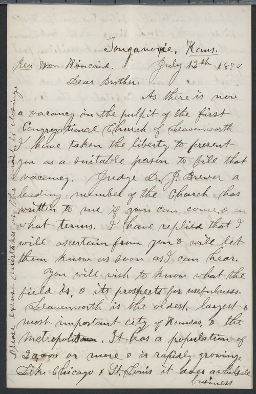 H. E. Woodcock to William Kincaid - Page