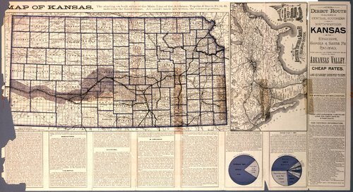 Map of Kansas. The direct route to all points in central, southern and southwestern Kansas is the Atchison, Topeka and Santa Fe Railroad - Page