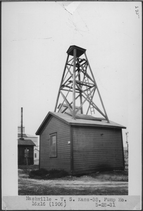 Atchison, Topeka & Santa Fe Railway Company pump house, Nashville, Kansas - Page