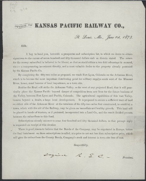 Cover letter for a prospectus and subscription list for an expansion of the Kansas Pacific Railway Company. - Page