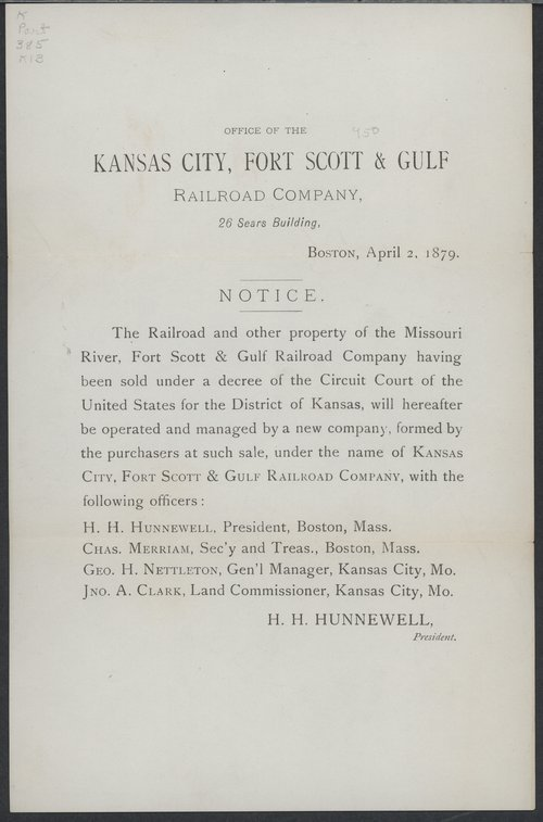 Notice of sale of property : Kansas City, Fort Scott and Gulf Railroad Company - Page
