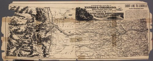 Kansas, take a correct county map of Kansas Pacific Railway : Kansas, Colorado, a map which shows the new Leadville mines . . . - Page