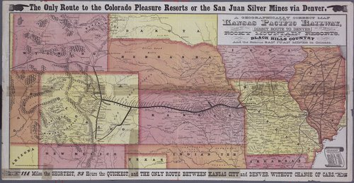 A geographically correct map of the Kansas Pacific Railway showing the only direct route to Denver and all the popular Rocky Mountain resorts . . . - Page