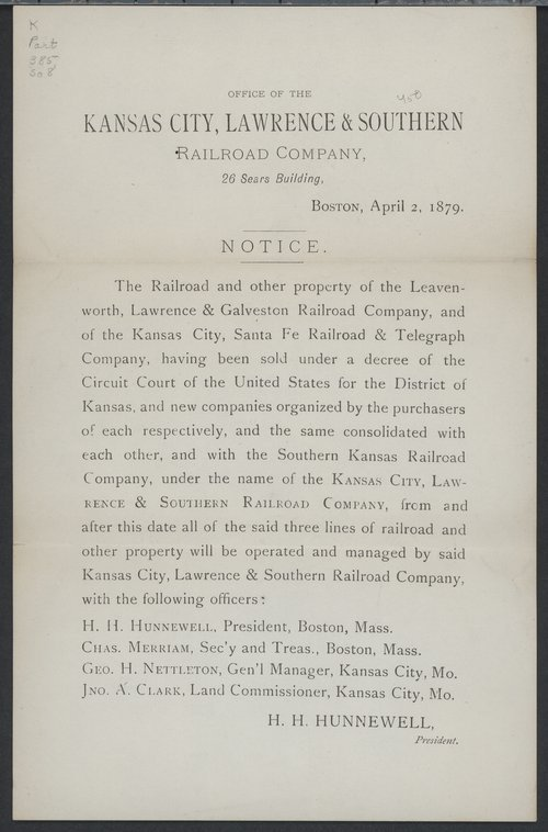 Notice of the sale of railroads - Page