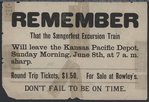 Remember that the Sangerfest excursion train will leave the Kansas Pacific depot . . . - Page