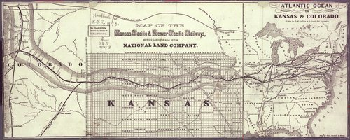 Map of the Kansas Pacific and Denver Pacific Railways, showing lands for sale by the National Land Company. - Page