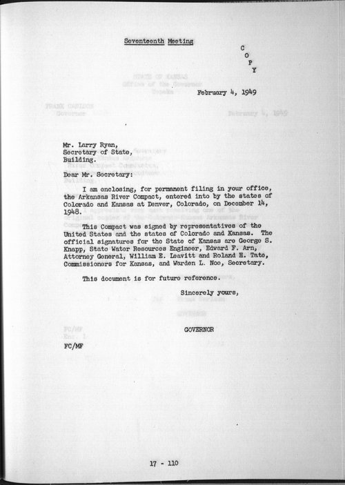 Governor Frank Carlson to Larry Ryan, Secretary of State - Page