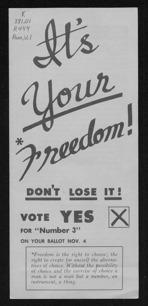 """It's Your Freedom!""  Kansas constitutional amendment for Right to Work, 1958 - Page"