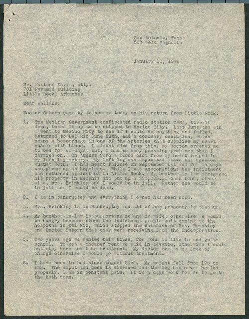 John R. Brinkley to Wallace Davis - Page