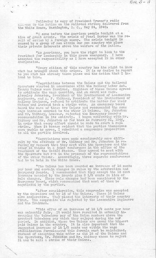 President Harry S. Truman's radio address to the nation on the railroad strike - Page