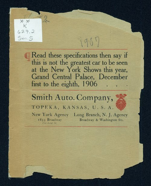 Advance sheet of the 1907 Great Smith car - Page