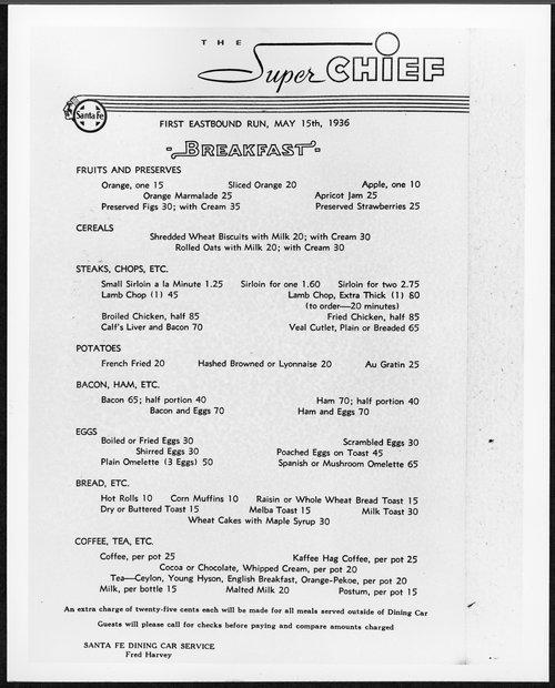 Atchison, Topeka & Santa Fe Railway Company's Super Chief menu - Page