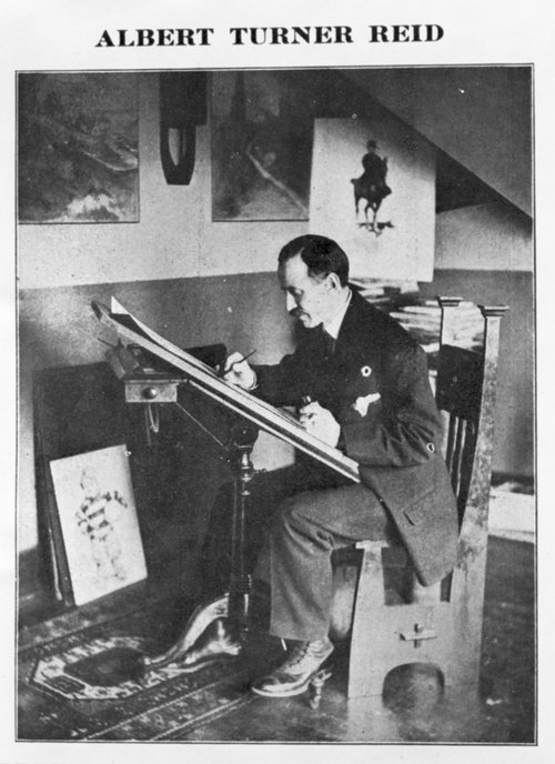 Photograph of Albert T. Reid at his easel