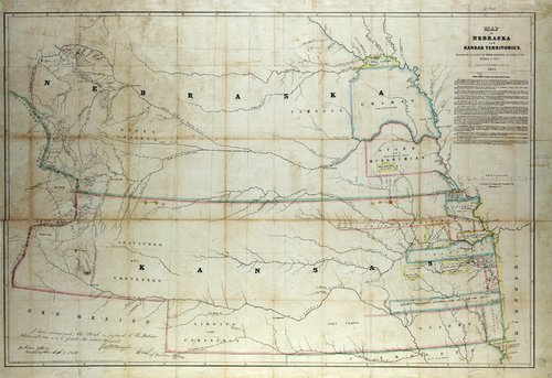 This map shows the locations of the reduced lands of Native American tribes after 1854. The Osage land strip is shown in southeastern Kansas Territory.