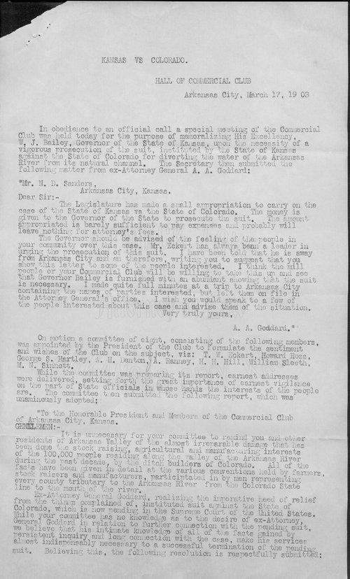 Arkansas City residents to Governor Willis Bailey - Page