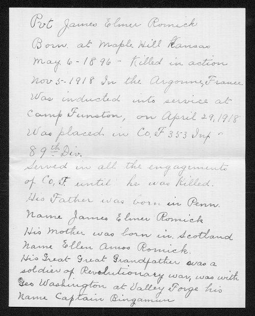 James Elmer Romick, World War I soldier - Page