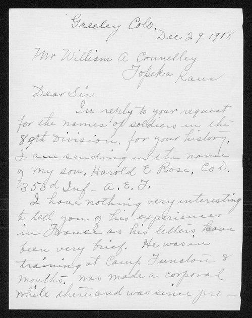 Harold E. Rose, World War I soldier - Page