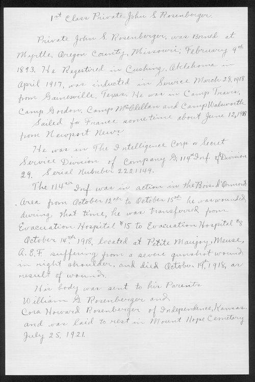 John S. Rosenberger, World War I soldier - Page