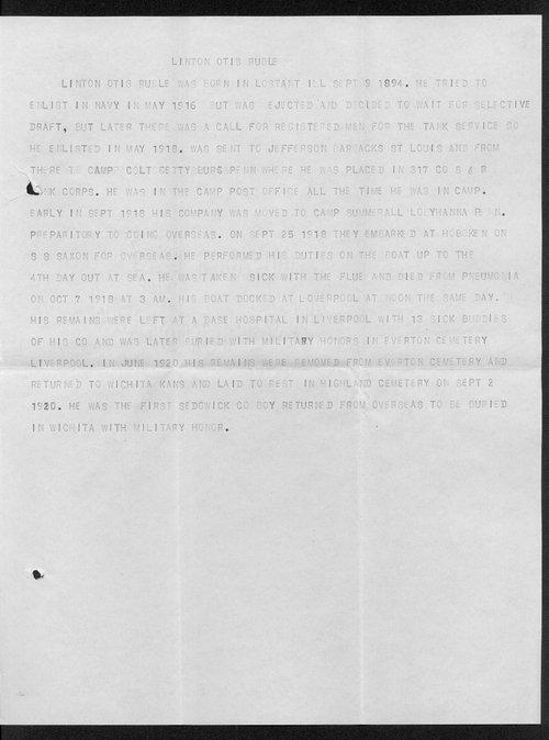 Linton Otis Ruble, World War I soldier - Page