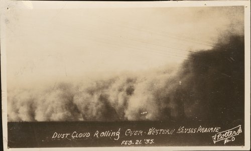 Dust cloud rolling over western Kansas prairie - Page