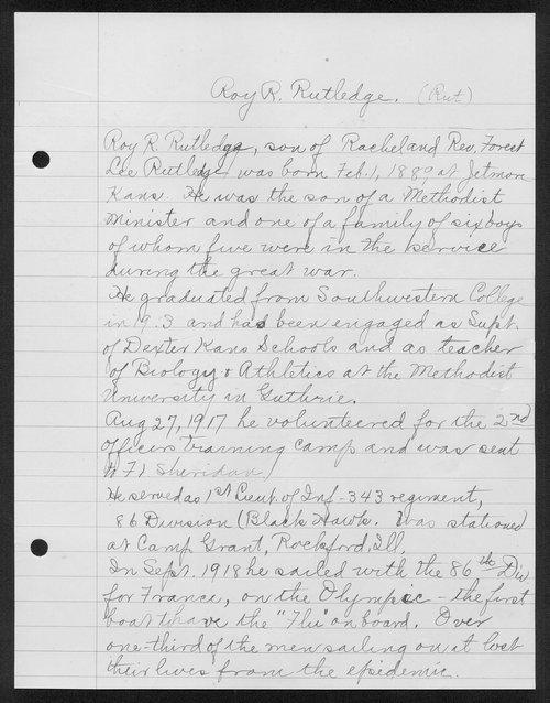 Roy R. Rutledge, World War I soldier - Page