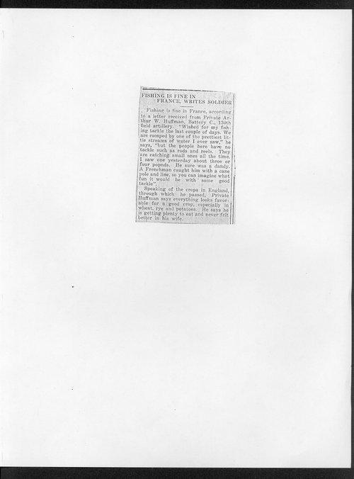 Arthur Webster Huffman, World War I soldier - Page