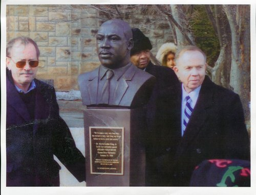 Dan Lykins and Jon Wefald at the Martin Luther King statue dedication at Kansas State University - Page