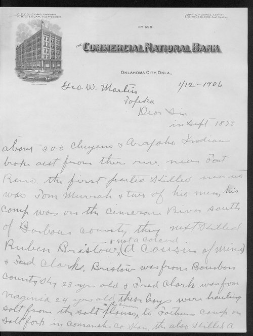 George Martin correspondence on the 1878 route of the Cheyenne Indians through Kansas - Page