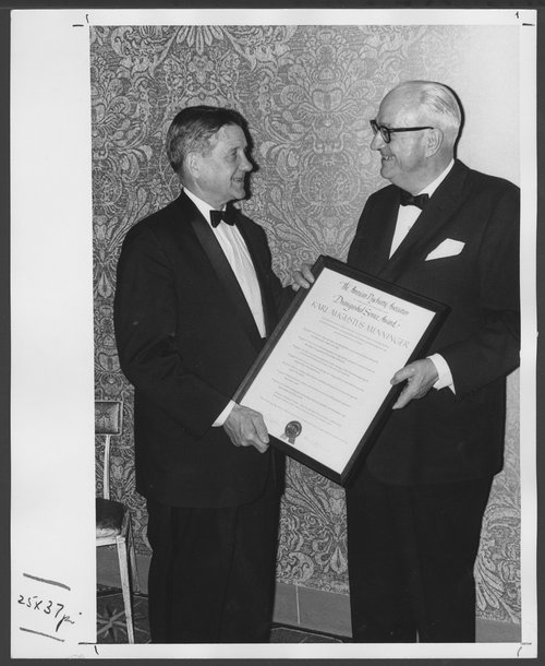 Karl Menninger, M.D. receiving the Distinguished Service Award - Page