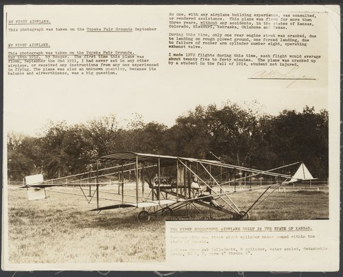 Albin K. Longren with his airplane in Topeka, Kansas - Page