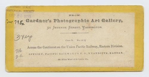 Office U. Pacific Railway Co. E. D. Wyandotte, Kansas. 286 Miles West St. Louis, Mo. - Page