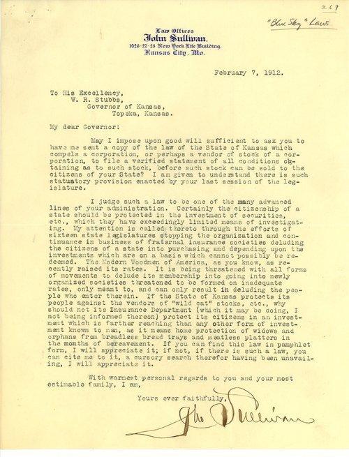 John Sullivan to Governor Walter Roscoe Stubbs - Page