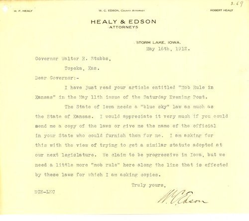 Letter from W. C. Edson to Governor Walter Roscoe Stubbs - Page